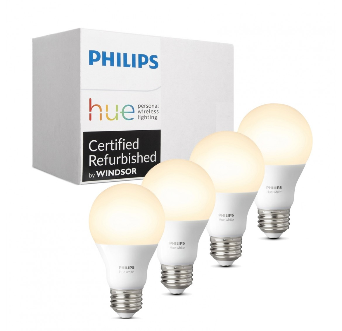 Philips Hue White 3rd Generation A19 Dimmable LED Smart 4-Bulb Kit (Bridge not included, Works with Amazon Alexa, Google Assistant, and Apple HomeKit)
