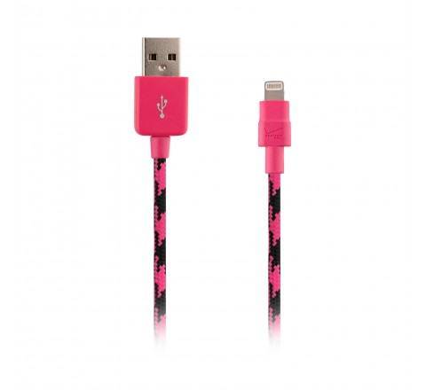 Braided Lightning Charge and Sync Cable (Pink/Black)