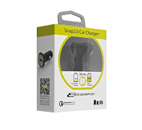 Bracketron Qualcomm Quick Charge Snap 2.0 Car Charger 2-Pack (Black)