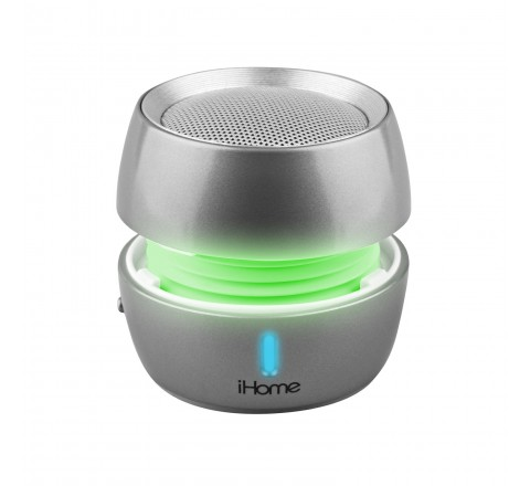 iHome iBT73 Color Changing Wireless Bluetooth Rechargeable Mini Speaker System (Silver)