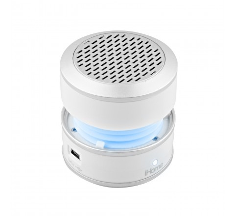 iHome iHM61 3.5mm Auxiliary Color Changing Portable Mono Speaker (White)