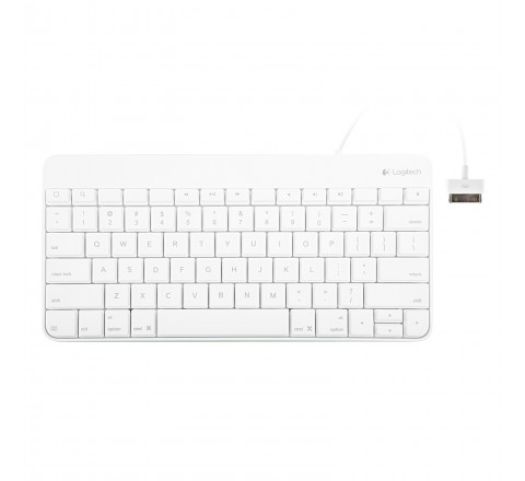 Logitech Wired Keyboard for iPad with 30-Pin Connector (White)