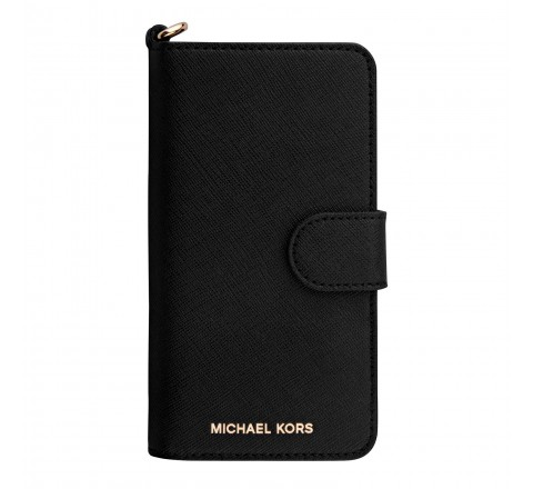 Michael Kors Saffiano Leather Folio Case for iPhone 7 (Black)