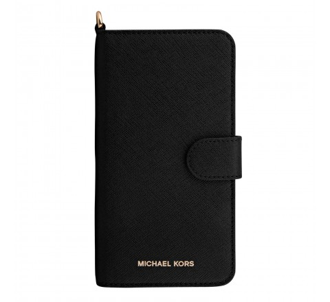 Michael Kors Saffiano Leather Folio Case for iPhone 7 Plus (Black)