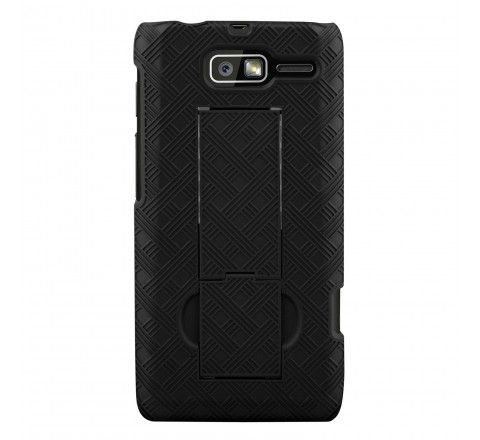 Motorola Rubberized Hard Shell Case w/ Holster for Motorola DROID RAZR M (Black)