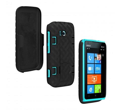 Rubberized Shell Holster Combo for Nokia Lumia 822 (Gray)