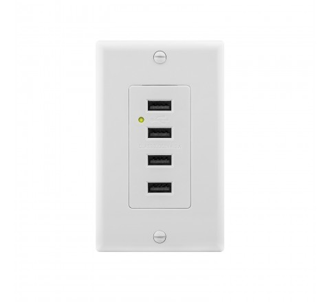 Ora 4.2 Amp Rapid Charging Quad USB Charging Outlet (White)