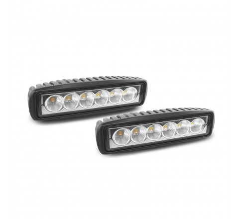 Ora Night Runner Off Road LED Worklights - Slim Profile Bar Mount Floodlight 2 Pack (Black)