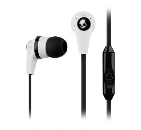 Skullcandy Ink'd 2 Wired Earbud Headphones with 1-Button Microphone (White/Black)