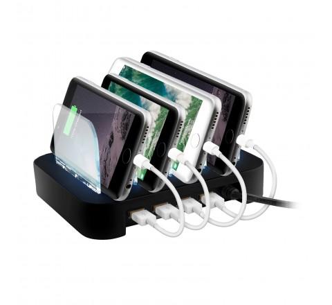 Surgit 4 Port USB Rapid Charging Station (Black)