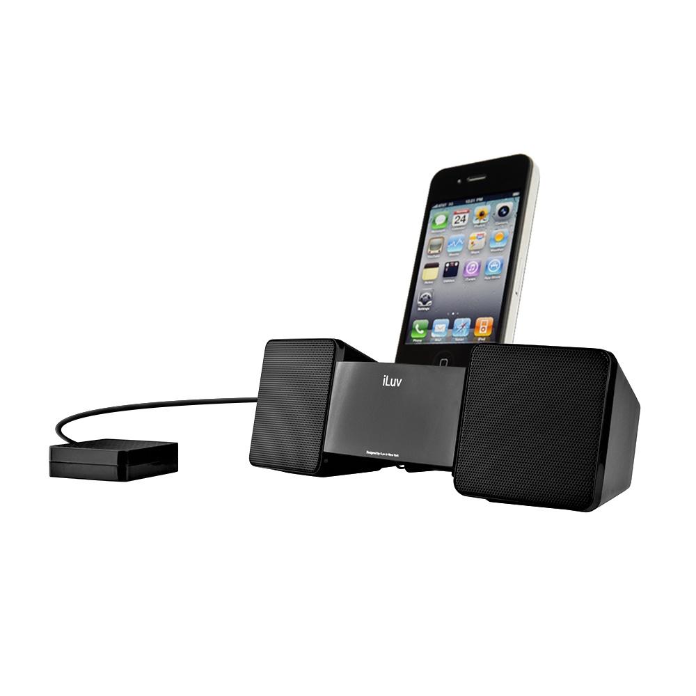 iLUV Vibro II Alarm Clock with Bed Shaker  30-Pin Speaker Dock iPhone & iPod (Black)